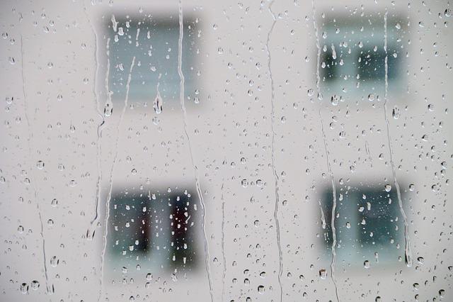じめじめの雨ガラス
